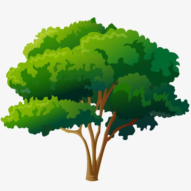 绿色手绘树png素材-90设计