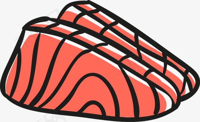 手绘日式餐饮矢量素材日式餐饮矢量素材三文鱼手绘三文鱼简笔画日韩饮食文化png免抠元素美食小吃