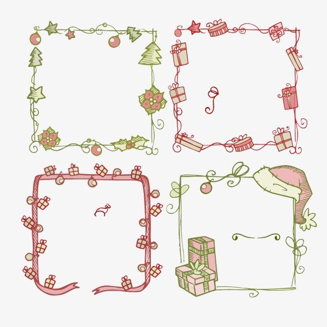 彩色圣诞节手绘花卉小清新框架矢量素材