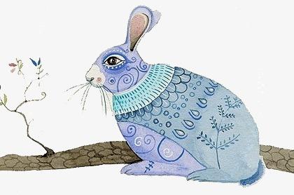 手绘水彩兔子