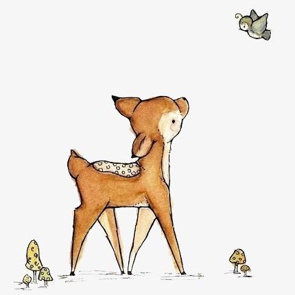 手绘 梦幻 唯美 森林系素材 素描图片 卡通 小鹿 可爱麋鹿手绘动物png