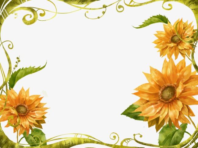 手绘向日葵边框背景
