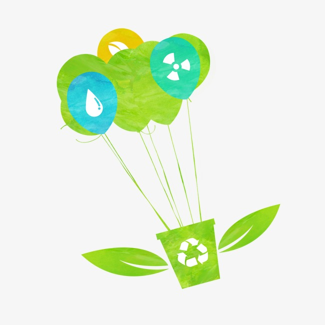 绿色手绘降落伞