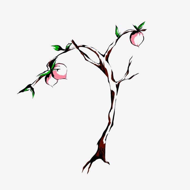 桃树 桃子 水墨画中国风             此素材是90设计网官方设计出品