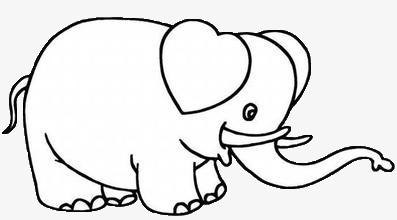 简笔画 黑色 大象