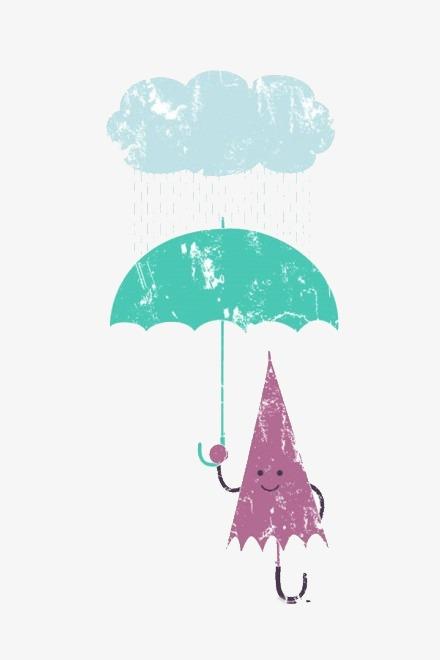 小清新 唯美 手绘 水彩 下雨 雨伞