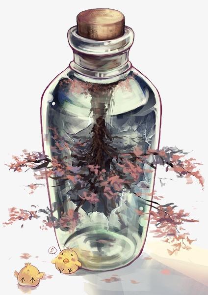 漂流瓶 小清新 唯美 手绘