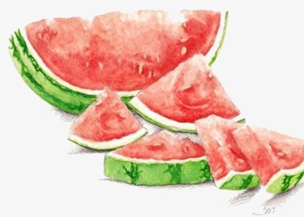 手绘 唯美 小清新 西瓜 水果