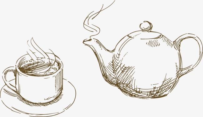 手绘茶壶茶杯素材图片免费下载 高清装饰图案psd 千库网 图片编号1900849