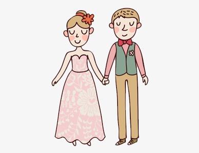 手绘 水彩画 情侣 结婚
