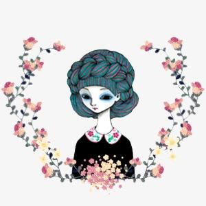 小清新 唯美 手绘 凳子 头发 女孩