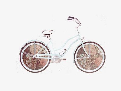 小清新 唯美 手绘 水彩画 小猫 自行车