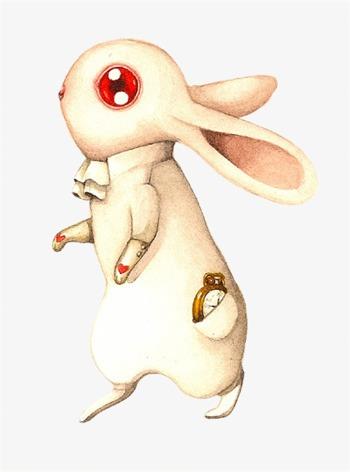 小清新 唯美 手绘 水彩画 兔子【高清装饰元素png素材