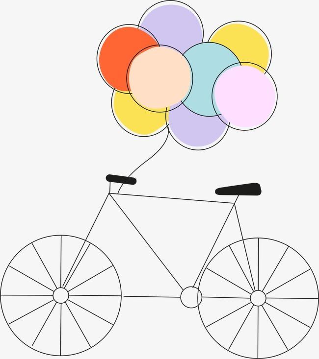 卡通自行车气球图片
