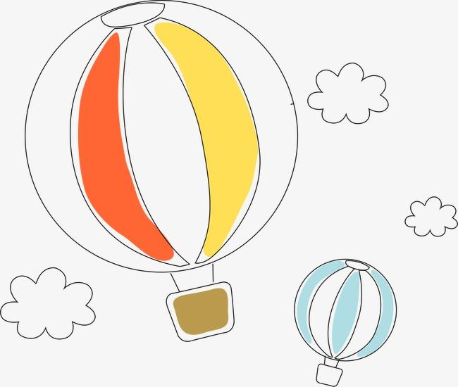 卡通热气球矢量手绘线稿卡通简约