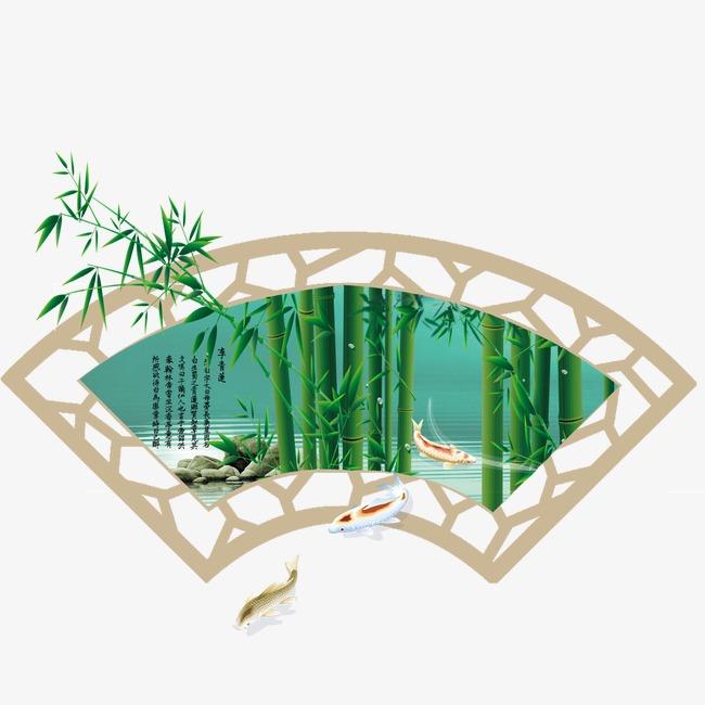 古典扇形边框和竹子【高清边框纹理png素材】-90设计