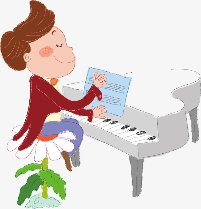 卡通钢琴男孩素材图片免费下载 高清装饰图案psd 千库网 图片编号1932877