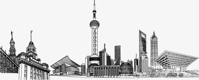 手繪上海地標建筑