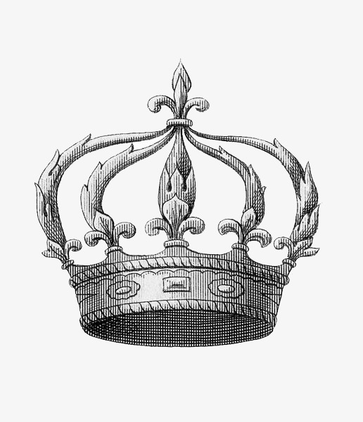手绘黑白皇冠