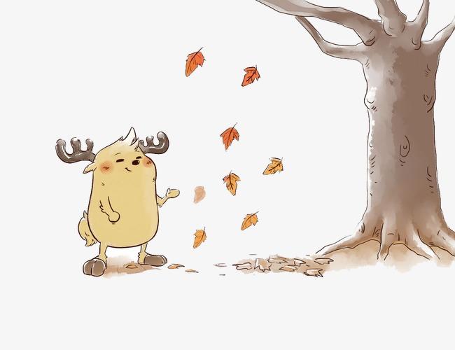 鹿小漫手绘壁纸落叶