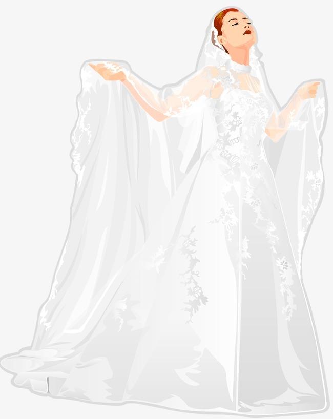 手绘婚纱 头纱png素材-90设计