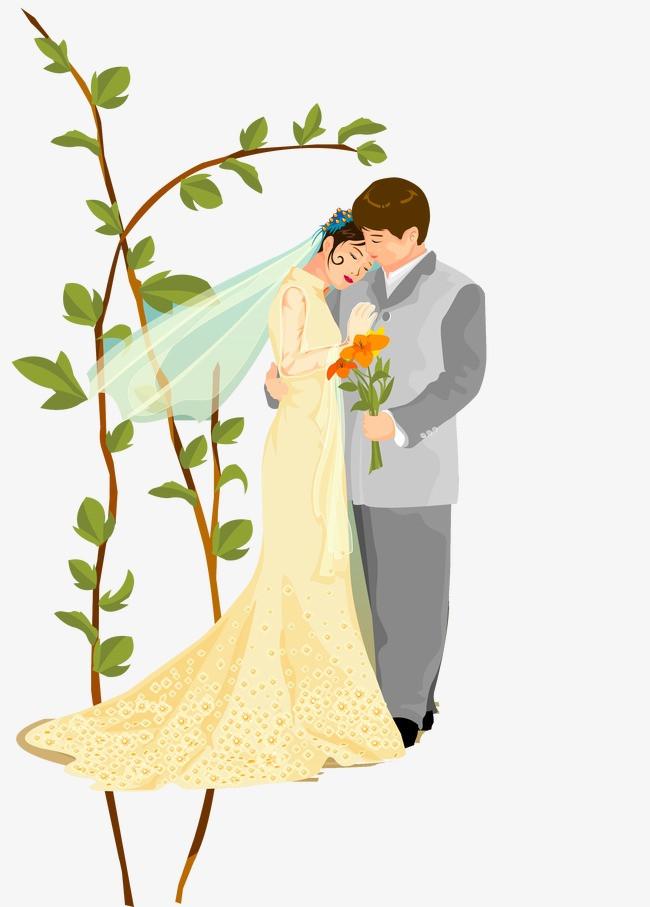 卡通手绘婚纱头纱