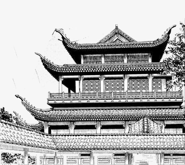 黑白手绘房子