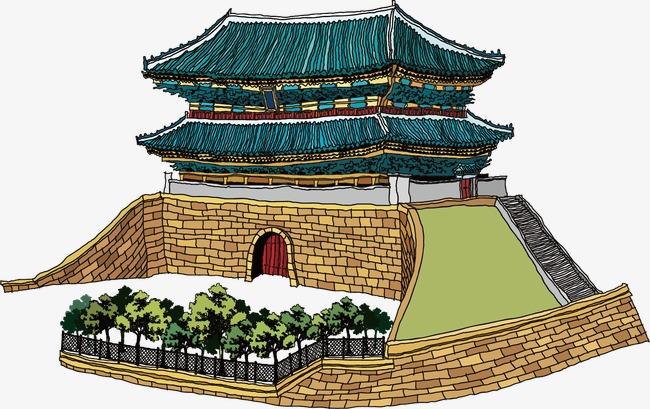 手绘古代城门楼