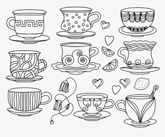 手绘线条咖啡杯 茶杯 卡通 鼠绘手绘线条 咖啡杯 茶杯 卡通 鼠绘png