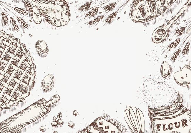 手绘谷物面包边框背景