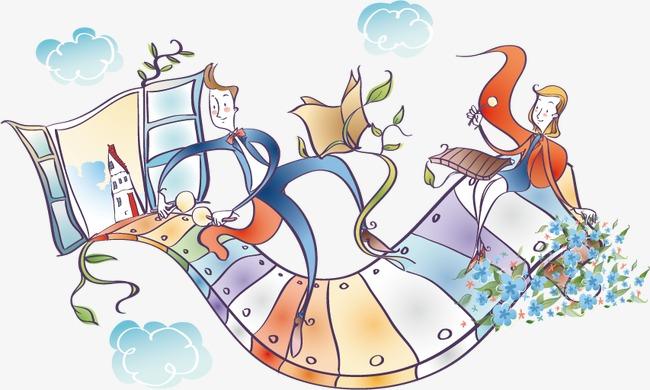 琴键上的人卡通图素材图片免费下载 高清装饰图案psd 千库网 图片编号2068135