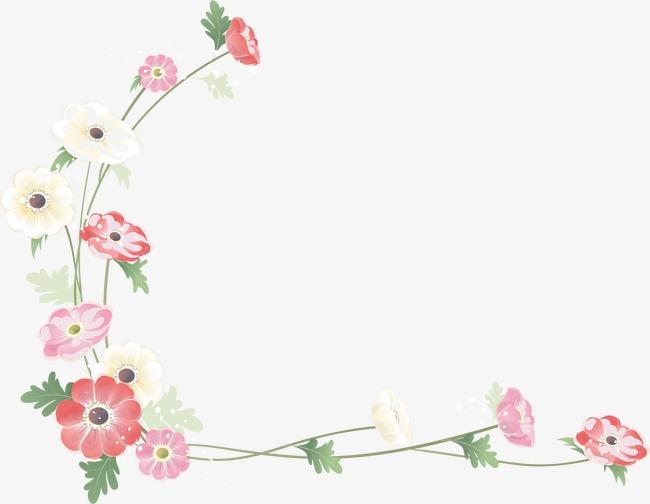 手绘粉色花卉边框素材图片免费下载 高清边框纹理psd 千库网 图片编号2068422图片