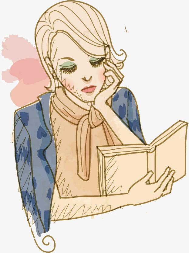 手绘美女看书
