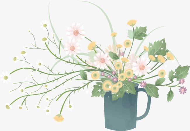 手绘花草矢量卡通手绘ai线条鲜花花朵花卉绿草花草植物清新水桶花瓶