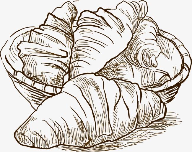 手绘线描食物面包素材图片免费下载 高清装饰图案psd 千库网 图片编