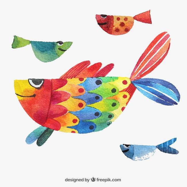 手绘彩色鱼png素材-90设计