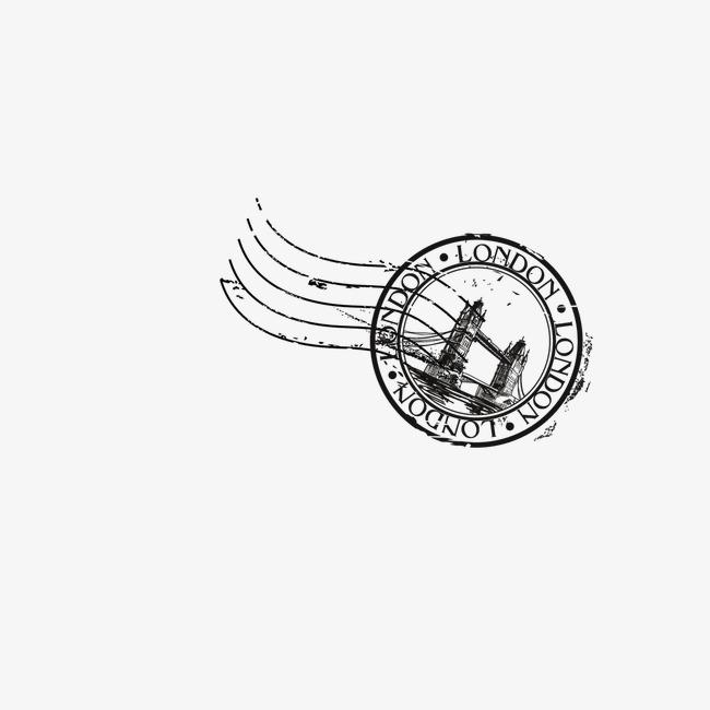 凯旋门邮戳【高清装饰元素png素材】-90设计