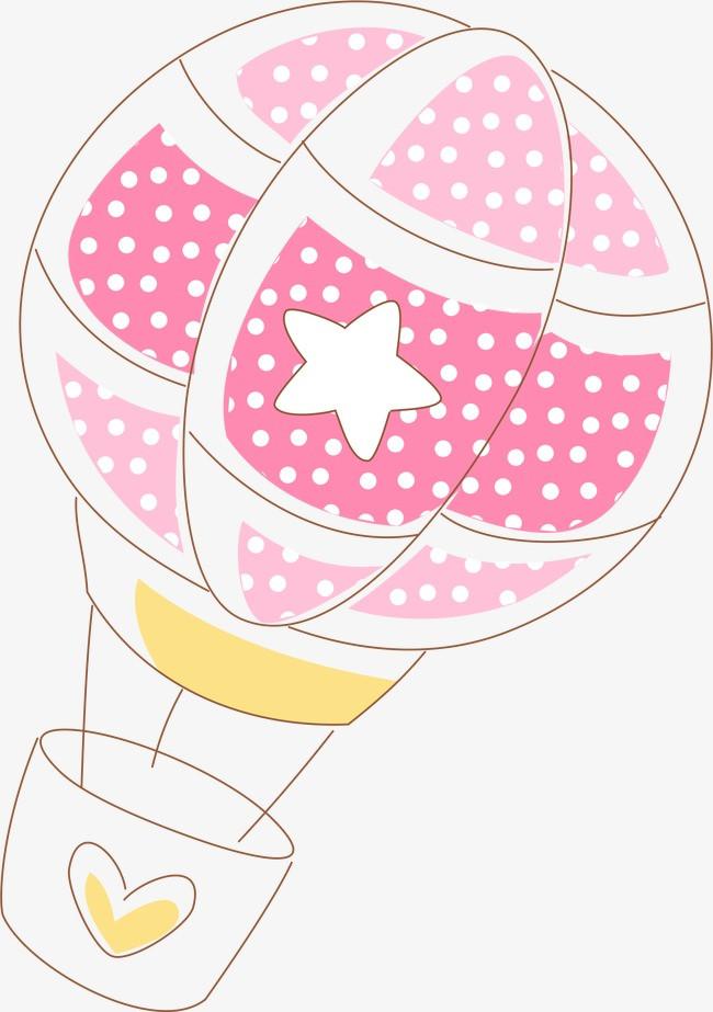粉色手绘热气球