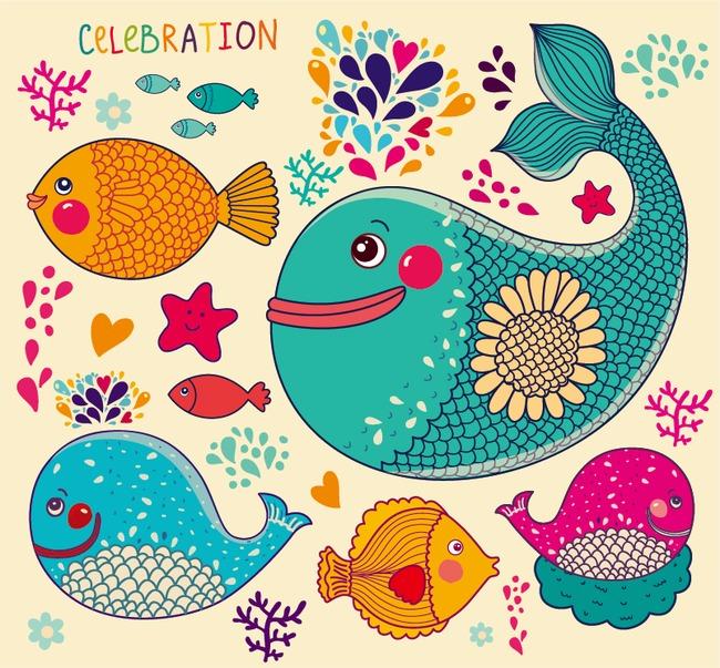 彩色手绘鱼【高清边框纹理png素材】-90设计