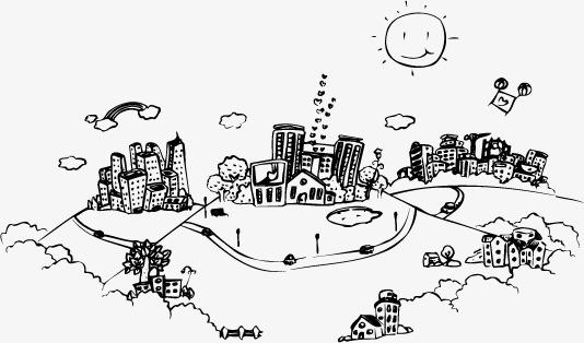 手绘城市黑白线条素材