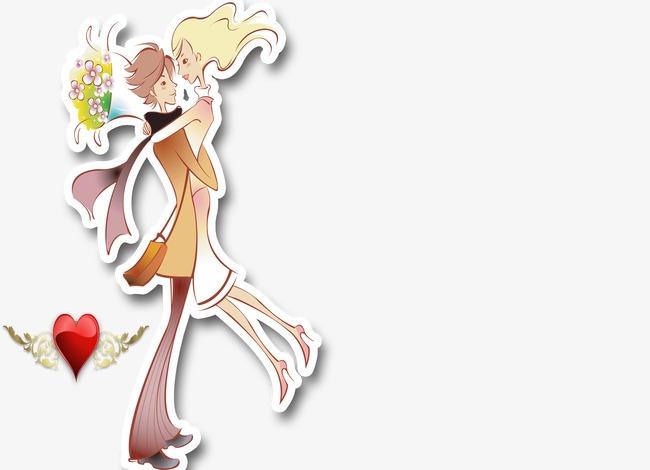 卡通背景_卡通手绘情侣png素材-90设计