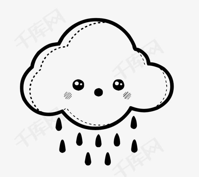 黑白手绘简笔画儿童黑白手绘涂鸦装饰下雨