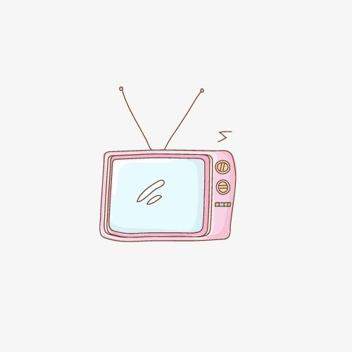 卡通手绘电视机图案装饰小电视素材粉色小素材装饰图案图片