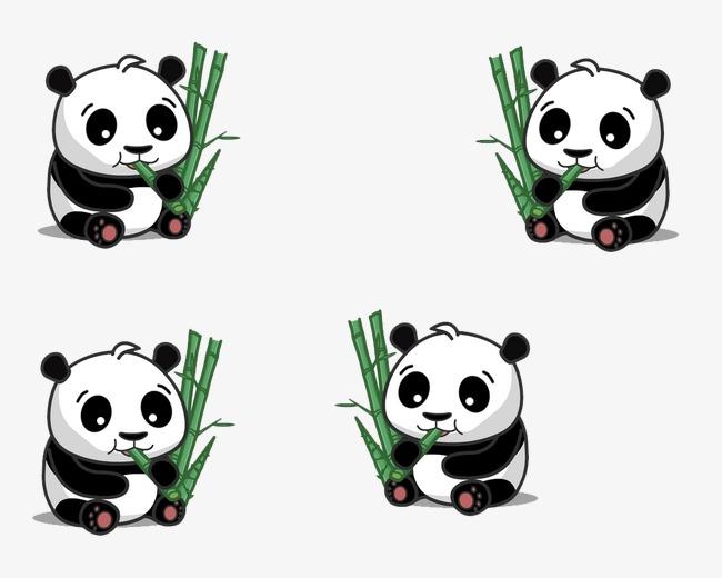 可爱熊猫吃竹子图片