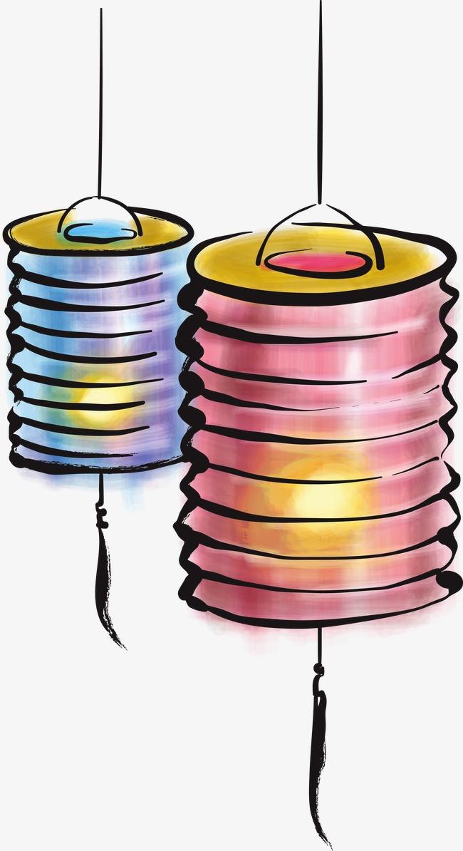 手绘水彩灯笼png素材-90设计
