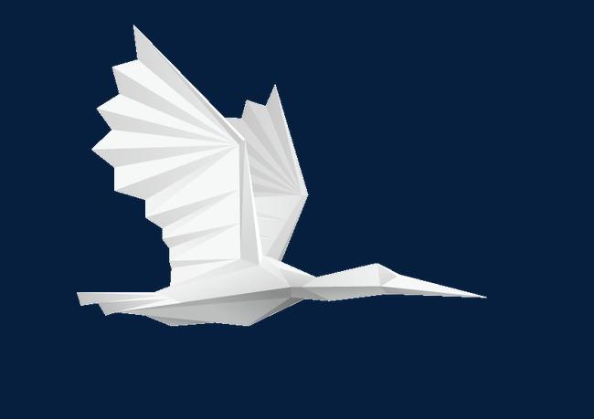 白色折纸纸鹤装饰图