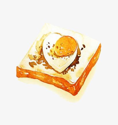 手绘面包_面包配鸡蛋png素材-90设计
