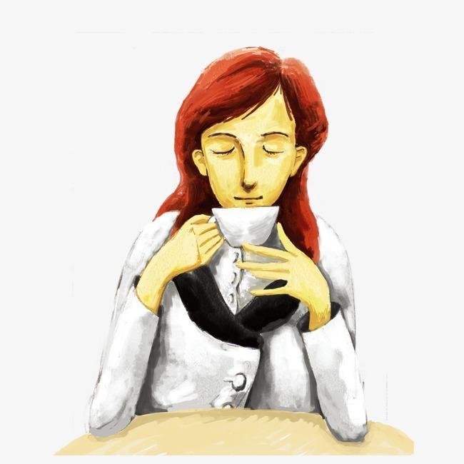 手绘女孩喝咖啡