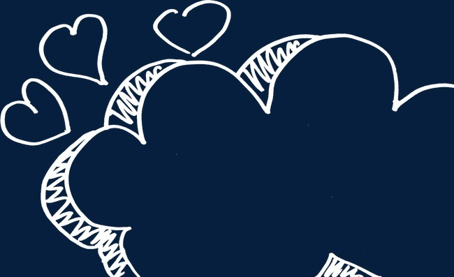 粉笔手绘爱心对话框png素材-90设计
