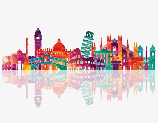 彩色意大利名胜建筑图片